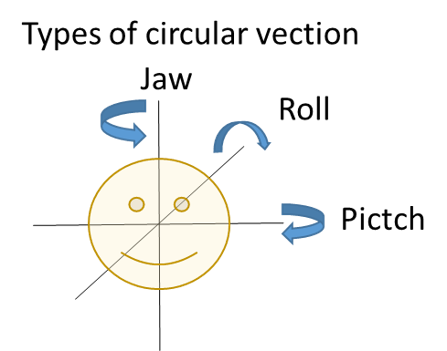 Diagram of circular self-motion direction